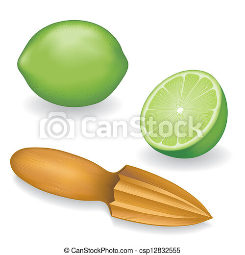 Limes and Wood Fruit Reamer - csp12832555