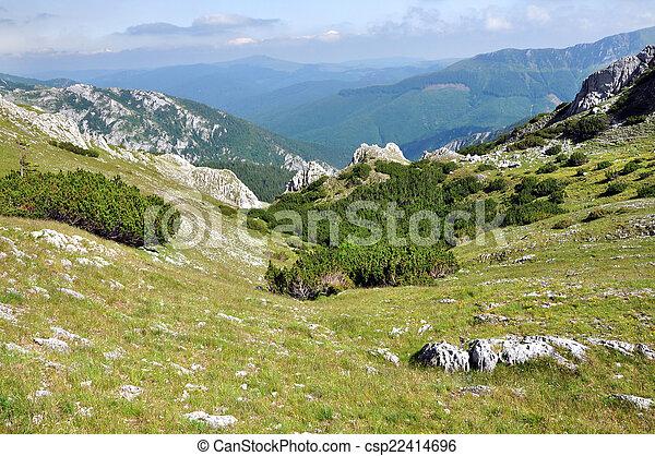 Limestone cliffs in Retezat mountain, Romania - csp22414696