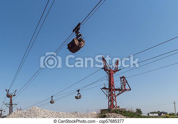 Limestone mining and transportation via cable car