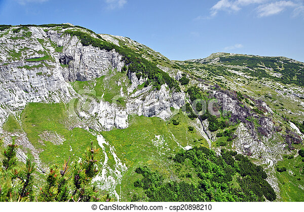 Limestone ridge, Iorgovanului cliff in Retezat mountain, Romania - csp20898210