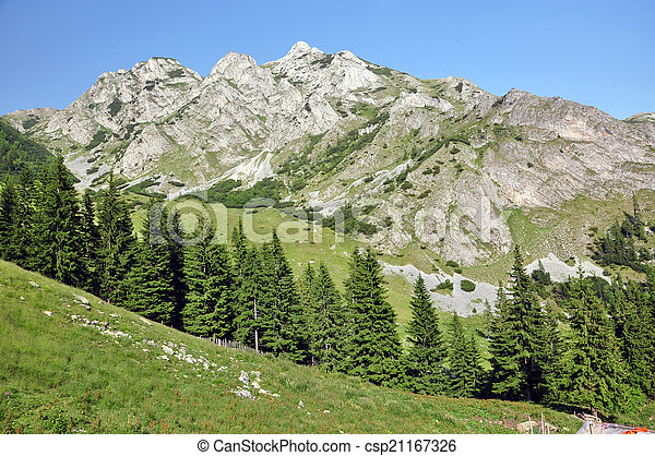 Limestone ridge, Iorgovanului cliff in Retezat mountain, Romania - csp21167326