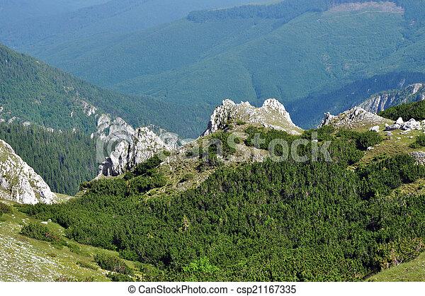 Limestone ridge, Iorgovanului cliff in Retezat mountain, Romania - csp21167335
