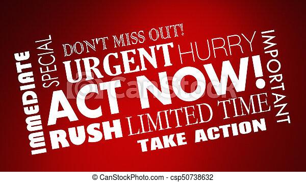 limité, hâte, offre, temps, illustration, mots, acte, maintenant, 3d - csp50738632
