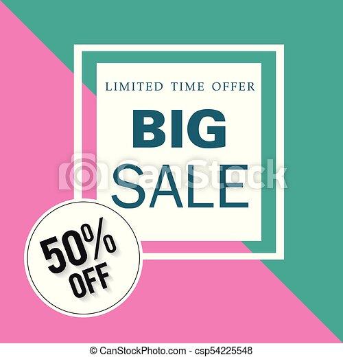 Banner limitado tiempo ofrece una gran venta 50% fuera de la imagen vectorial cuadrada - csp54225548