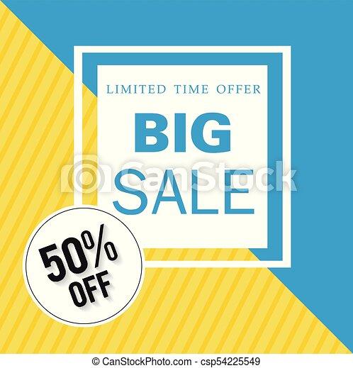 Banner limitado tiempo ofrece una gran venta 50% fuera de la imagen vectorial cuadrada - csp54225549