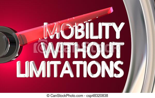 limitations, mobilité, illustration, sans, jauge, compteur vitesse, 3d - csp48320838