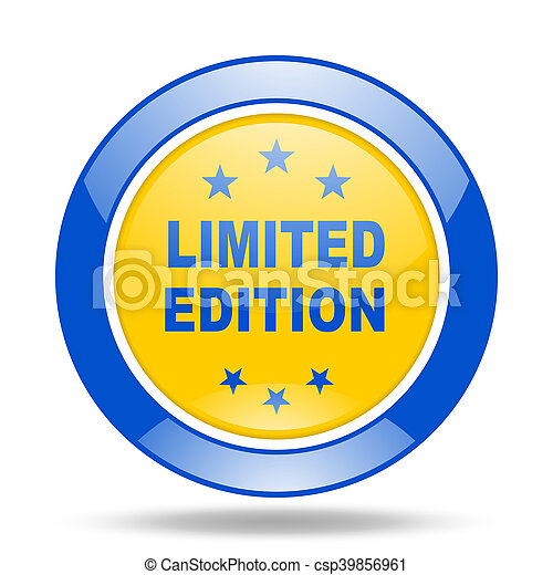 limited edition blue and yellow web glossy round icon - csp39856961