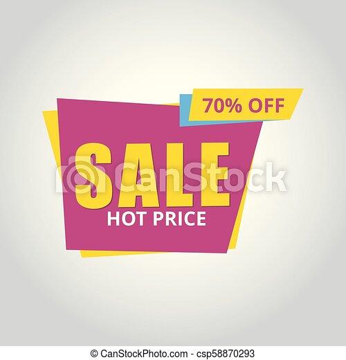 Limited Offer Mega Sale banner. Sale poster. Big sale, special offer, discounts, 70% off. Vector illustration. - csp58870293