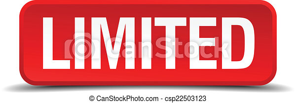 limited red 3d square button isolated on white - csp22503123