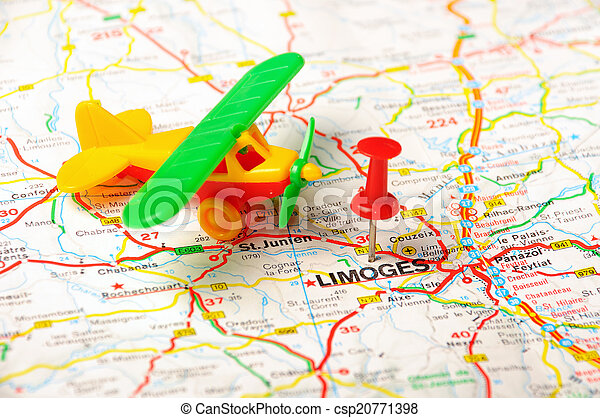 Limoges France Map.Limoges France Map Airport Red Push Pin Pointing At Limoges