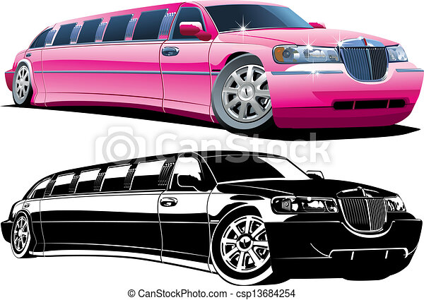 limousine, dessin animé - csp13684254