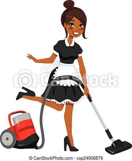 limpador, americano, vácuo, africano, empregada - csp24936879