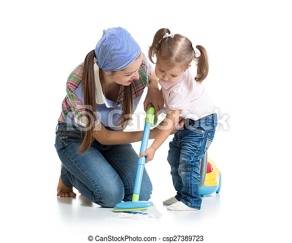 limpador, pequeno, menina mulher, vácuo - csp27389723