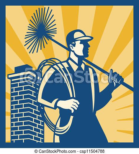 limpador, varredor, trabalhador, retro, chaminé - csp11504788