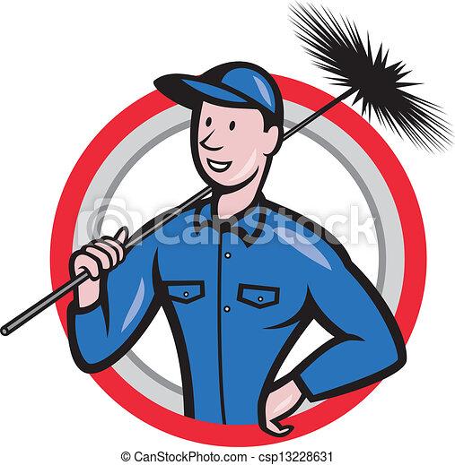 limpador, varredor, trabalhador, retro, chaminé - csp13228631