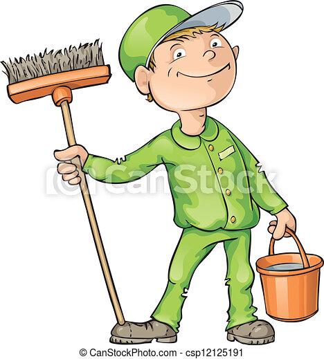 Limpiador sosteniendo un cepillo y una hebilla - csp12125191