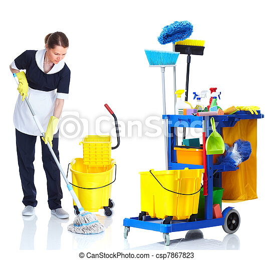 Una sirvienta más limpia lavando piso. - csp7867823