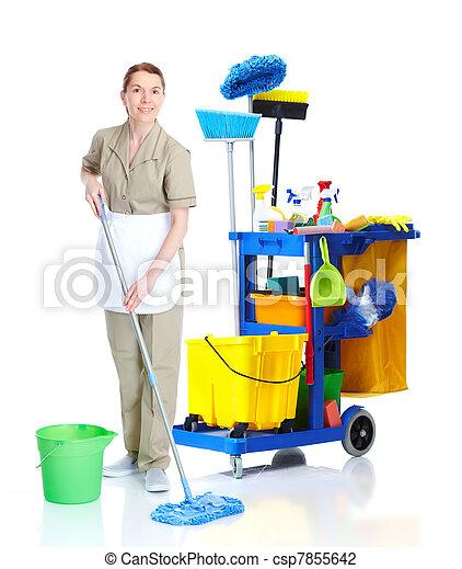 Una sirvienta más limpia lavando piso. - csp7855642