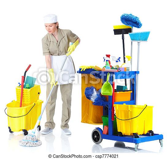 Una sirvienta más limpia lavando el suelo. - csp7774021