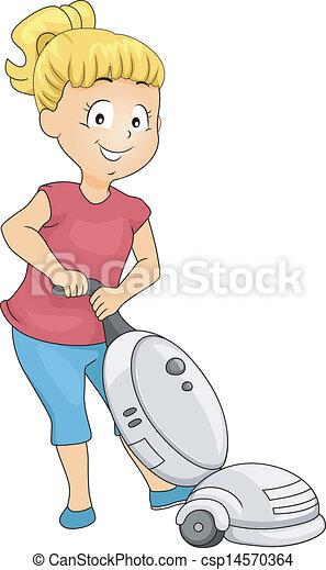 Una niña con aspiradora - csp14570364