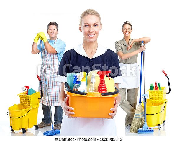 Una joven y sonriente mujer limpia. - csp8085513