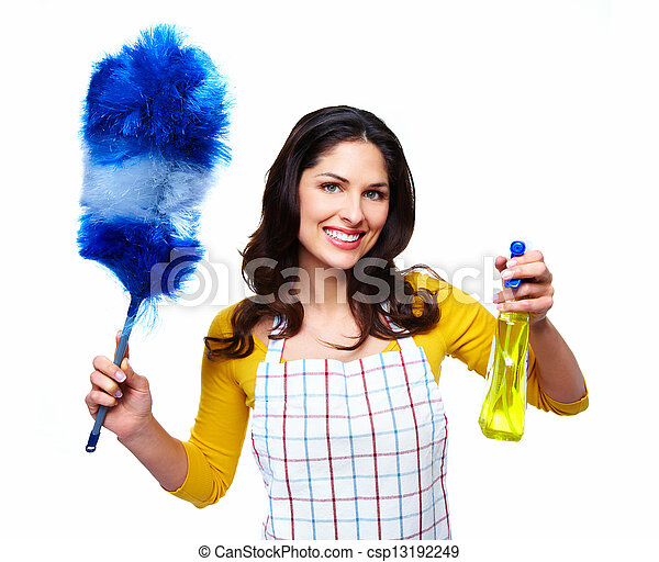Una joven y sonriente mujer limpia. - csp13192249