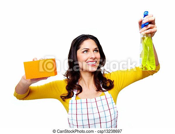 Una joven y sonriente mujer limpia. - csp13238697