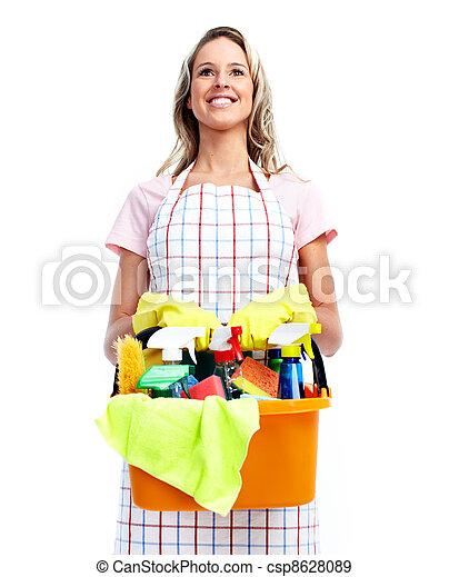 Una joven y sonriente mujer limpia. - csp8628089