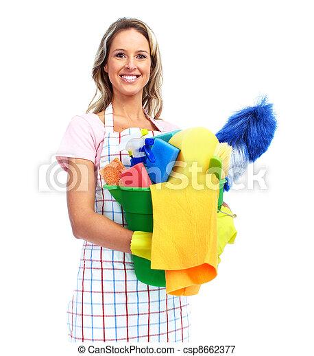 Una joven y sonriente mujer limpia. - csp8662377