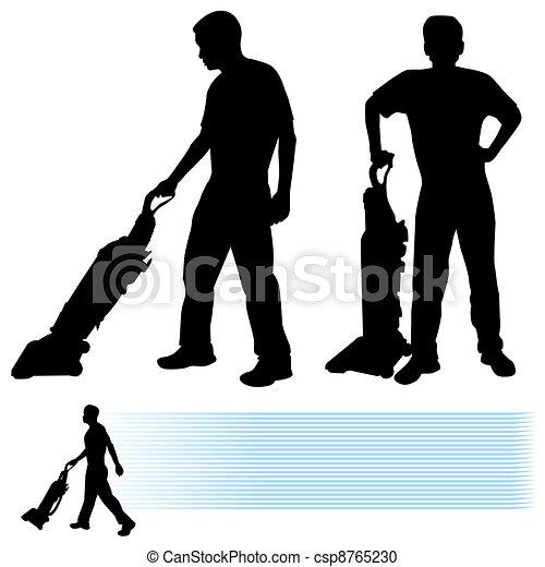 Hombre usando aspiradora - csp8765230