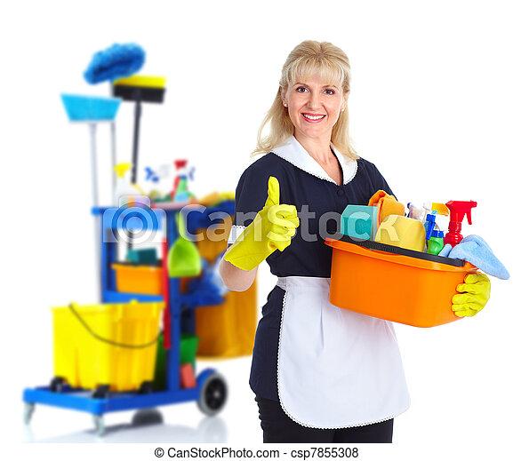 Una sirvienta más limpia. - csp7855308