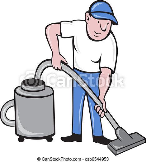 Limpieza masculina con aspiradora - csp6544953
