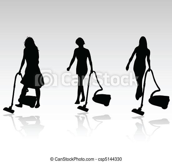 Tres mujeres que limpian vector - csp5144330