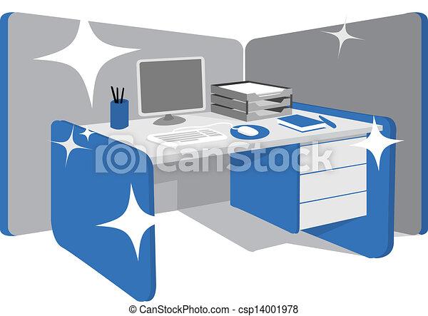 limpio, estación de trabajo, oficina, /, escritorio - csp14001978