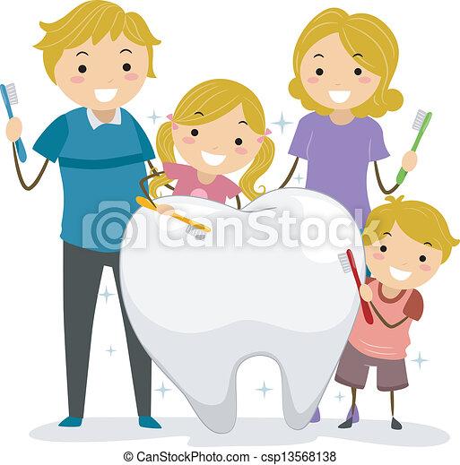 La familia de los dientes limpios - csp13568138