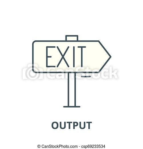 linéaire, concept, symbole, signe, vecteur, icône, rendement, ligne, contour - csp69233534