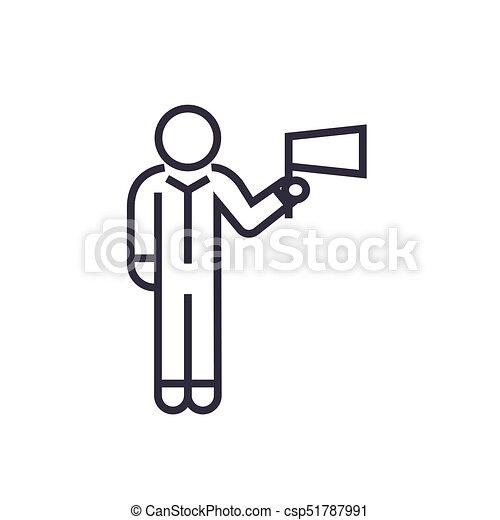 763441ff4c Linéaire, signe, isolé, symbole, drapeau, vecteur, fond, icône ...