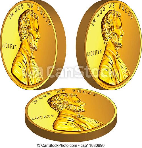 Dinero de oro americano, un centavo con la imagen del Lincoln en tres ángulos diferentes - csp11830990