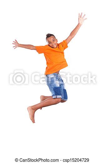 Retrato de un lindo adolescente negro saltando sobre un fondo blanco, gente africana - csp15204729