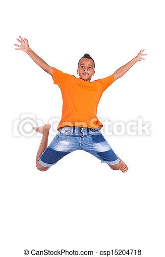Retrato de un lindo adolescente negro saltando sobre un fondo blanco, gente africana - csp15204718