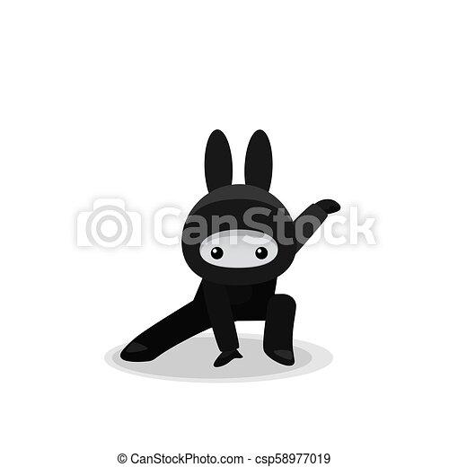 Acosando a un lindo conejito ninja aislado en el fondo blanco - csp58977019