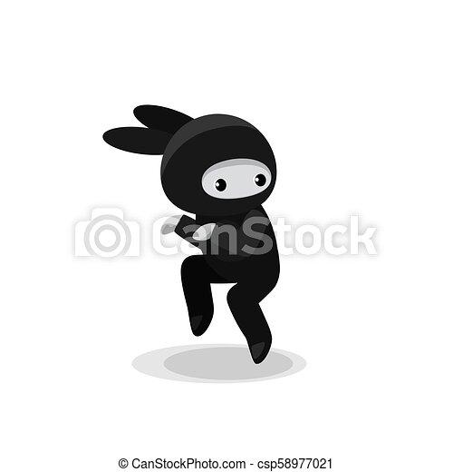 Un lindo conejito ninja aislado de fondo blanco - csp58977021