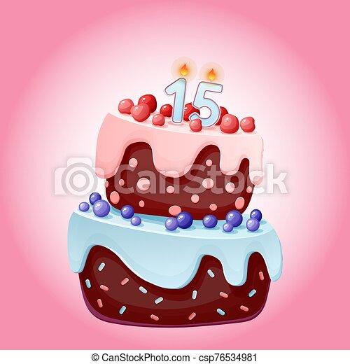 lindo, aniversarios, vela cumpleaños, 15, año, partidos, pastel, galleta, caricatura, número, festivo, cerezas, fifteen., blueberries., chocolate, bayas - csp76534981
