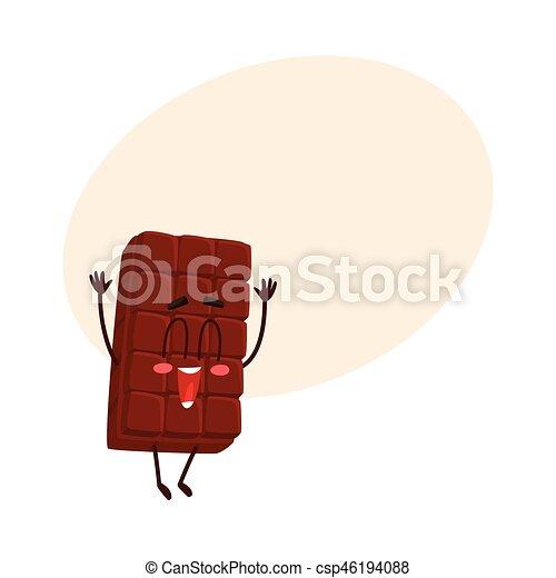 Lindo personaje de chocolate con cara graciosa saltando de felicidad - csp46194088