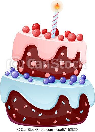 Lindo pastel de caricatura, una vela. Galletas de chocolate con cerezas y arándanos. Para fiestas, cumpleaños. Elemento aislado - csp67152820