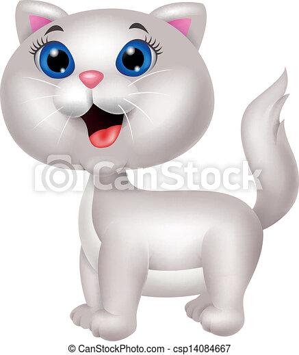 Bonita caricatura de gatos blancos - csp14084667