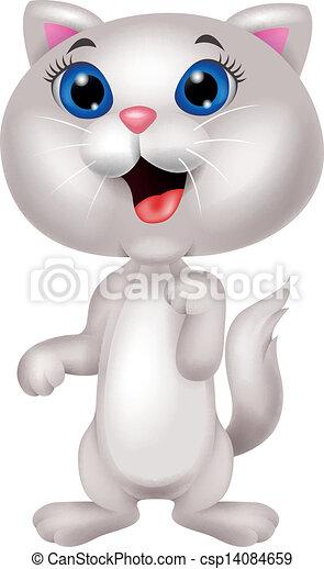 Bonita caricatura de gatos blancos - csp14084659