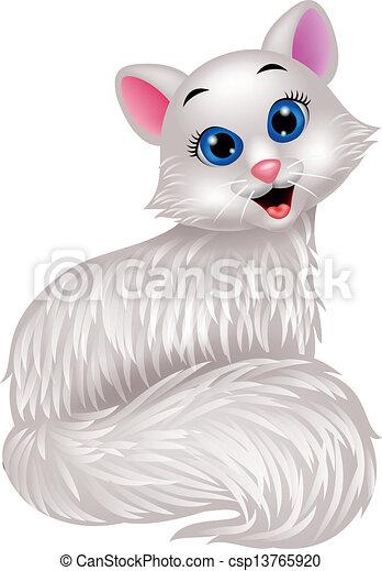 Lindo dibujo de gato blanco - csp13765920