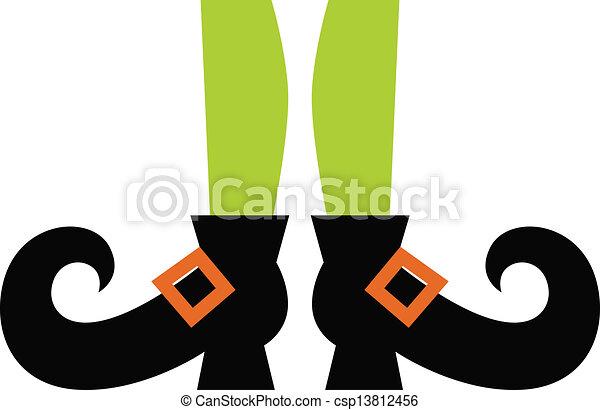 Bonitas piernas de bruja aisladas en blanco - csp13812456