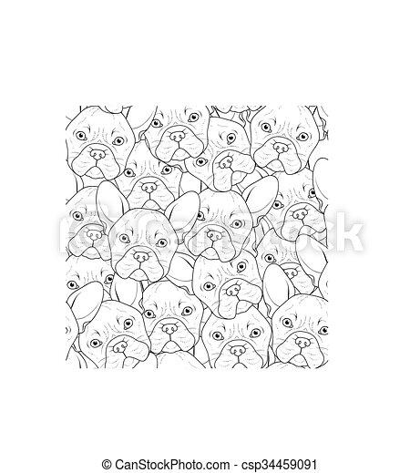 Trasfondo sin costuras con un lindo dibujo de bulldog. Perro realista - csp34459091